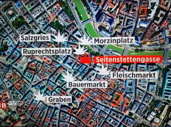 Các địa điểm diễn ra nổ súng - Ảnh: ORF